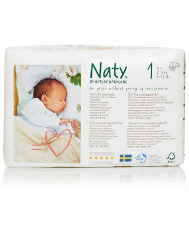 Eco Nappies Size 1 (2-5KG) - 4 x Packs of 26 (104 Nappies)