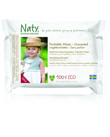 ECO Flushable Unscented Wipes , 12 x Packs of 42 (504 Wipes)